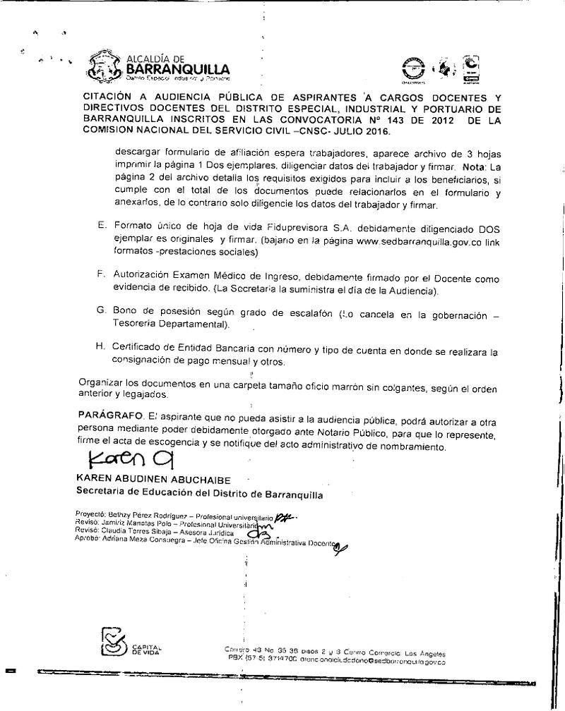 Citacion Audiencia Pública de Aspirantes a cargos Docentes y ...
